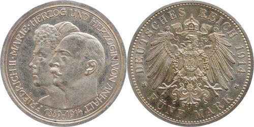 Lieferumfang:Deutschland : 5 Mark Friedrich II. u. Marie  1914 vz/Stgl.