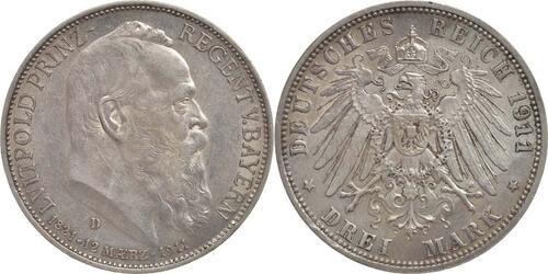 Lieferumfang:Deutschland : 3 Mark Luitpold  1911 vz.