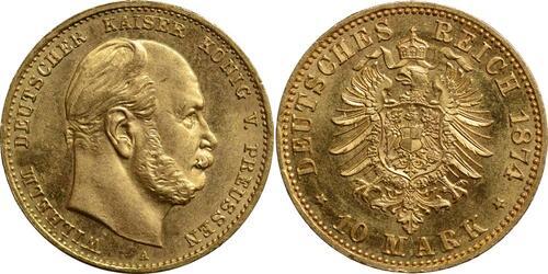 Lieferumfang:Deutschland : 10 Mark Wilhelm I. winz. Kratzer 1874 f.Stgl.
