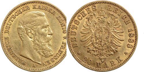 Lieferumfang:Deutschland : 20 Mark Friedrich III.  1888 ss/vz.