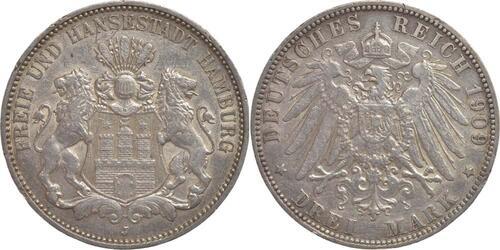 Lieferumfang:Deutschland : 3 Mark   1909 ss/vz.