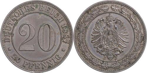Lieferumfang:Deutschland : 20 Pfennig  patina 1887 vz/Stgl.