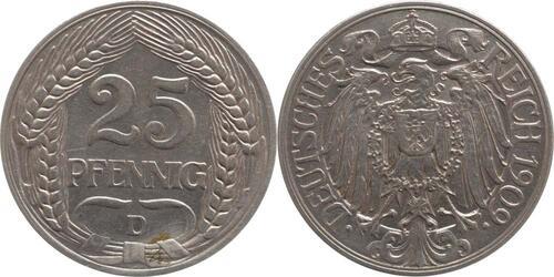 Lieferumfang:Deutschland : 25 Pfennig   1909 vz.