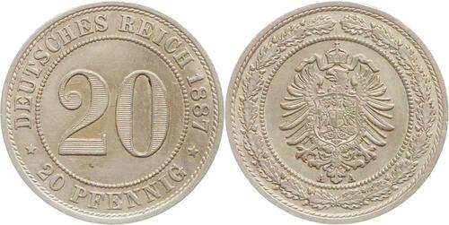 Lieferumfang:Deutschland : 20 Pfennig   1887 vz.