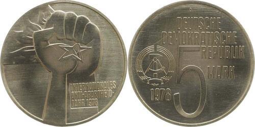 Lieferumfang:DDR : 5 Mark Anti - Apartheid  1978 vz/Stgl.