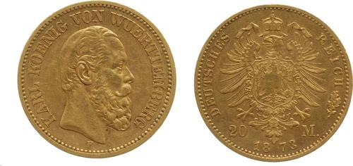 Lieferumfang:Deutschland : 20 Mark Karl  1873 ss.