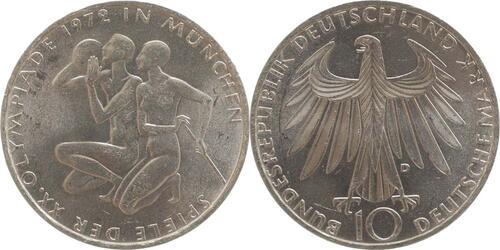 Lieferumfang:Deutschland : 10 DM Sportler und Sportlerin  1972 vz/Stgl.