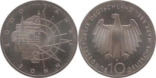 Lieferumfang:Deutschland : 10 DM 2000 Jahre Bonn  1989 vz/Stgl.