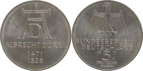 Lieferumfang:Deutschland : 5 DM Dürer  1971 vz/Stgl.