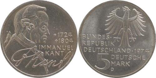 Lieferumfang:Deutschland : 5 DM Kant  1974 vz/Stgl.