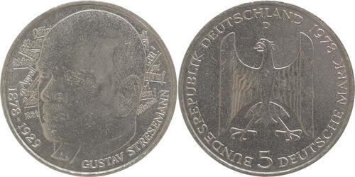 Lieferumfang:Deutschland : 5 DM Stresemann  1978 vz/Stgl.