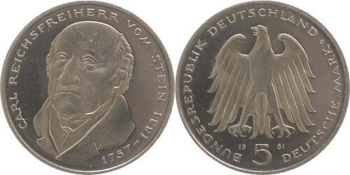 Lieferumfang:Deutschland : 5 DM Stein  1981 vz/Stgl.