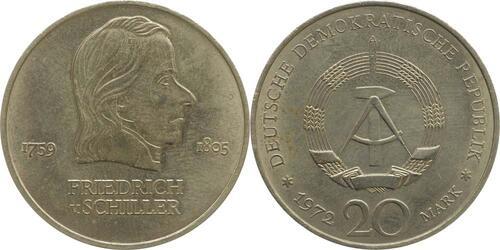 Lieferumfang:DDR : 20 Mark Friedrich Schiller  1972 vz.
