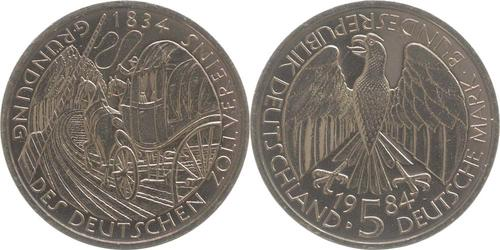 Lieferumfang:Deutschland : 5 DM Zollverein  1984 vz/Stgl.