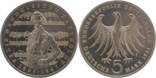 Lieferumfang:Deutschland : 5 DM Mendelssohn  1984 vz/Stgl.