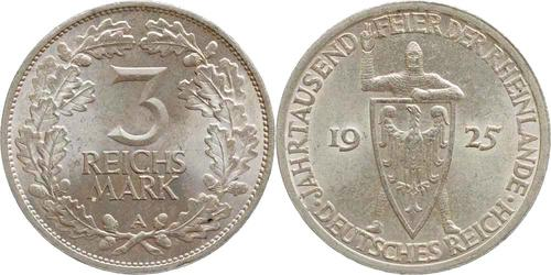 Lieferumfang:Deutschland : 3 Reichsmark Rheinlande  1925 vz/Stgl.