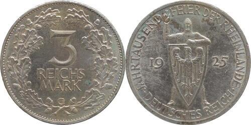 Lieferumfang:Deutschland : 3 Reichsmark Rheinlande  1925 vz.