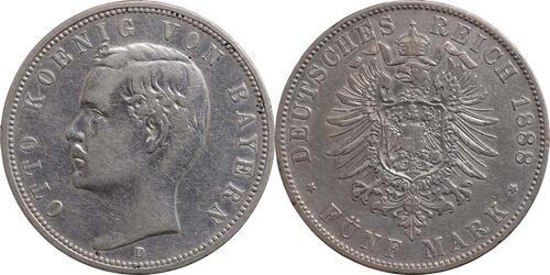 Lieferumfang:Deutschland : 5 Mark Otto  1888 ss.