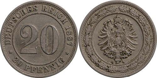 Lieferumfang:Deutschland : 20 Pfennig   1887 ss.