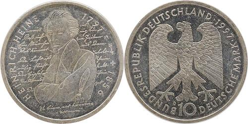 Lieferumfang:Deutschland : 10 DM Heinrich Heine  1997 vz/Stgl.