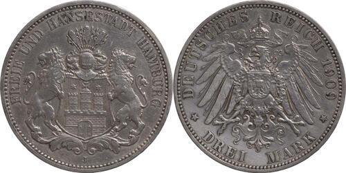 Lieferumfang:Deutschland : 3 Mark   1909 ss.