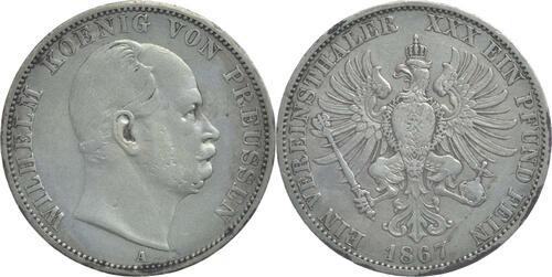 Lieferumfang:Deutschland : 1 Vereinstaler Wilhelm  1867 ss.