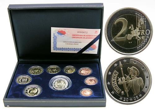 Lieferumfang:Spanien : 5,88 Euro KMS Spanien mit 2 Euro Gedenkmünze Don Quijote in PP  2005 PP KMS Spanien 2005 PP