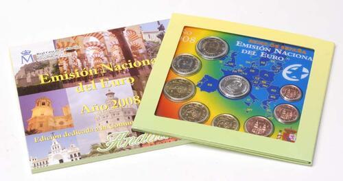 Lieferumfang:Spanien : 3,88 Euro original Kursmünzensatz aus Spanien mit Medaille Andalucia  2008 Stgl. KMS Spanien 2008
