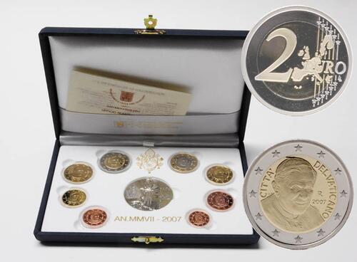 Lieferumfang:Vatikan : 3,88 Euro original Kursmünzensatz aus dem Vatikan  2007 PP KMS Vatikan 2007