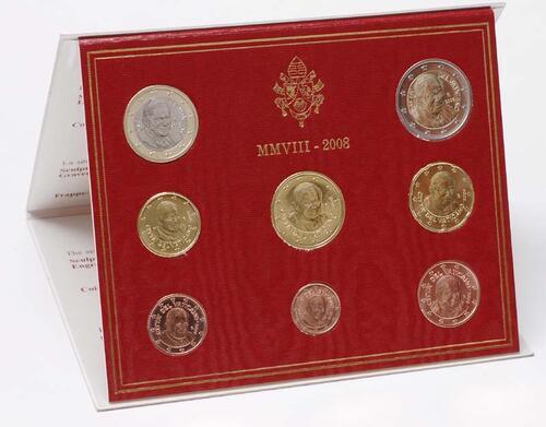 Lieferumfang:Vatikan : 3,88 Euro original Kursmünzensatz aus dem Vatikan  2008 Stgl. KMS Vatikan 2008 Stgl.