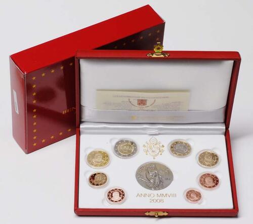Lieferumfang:Vatikan : 3,88 Euro original Kursmünzensatz aus dem Vatikan  2008 PP KMS Vatikan 2008 PP