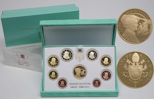Lieferumfang:Vatikan : 53,88 Euro KMS Vatikan inkl. 50 Euro Goldmünze Richard Wagner  2013 PP