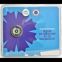 2 Euro Kornblume Coincard 2018 Stgl. Frankreich coloriert