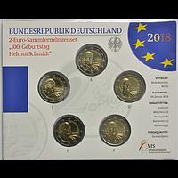 2 Euro Schmidt 2018 Stgl. Komplettsatz 5x2 Euro Deutschland