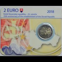 Slowakei 2 Euro 25 Jahre Slowakische Republik 2018 Stgl. Coincard