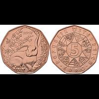 5 Euro Osterhase 2018 bfr Österreich Kupfer