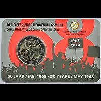 2 Euro Studentenaufstand 1968 2018 Stgl. Belgien NL-Variante Coincard