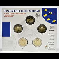 2 Euro Bundesrat Komplettsatz Blister 2019 Stgl. Deutschland