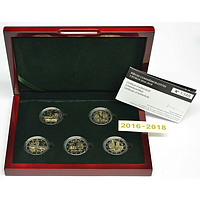 5x2 Euro Gedenkmünzen Set Luxemburg 2018 PP