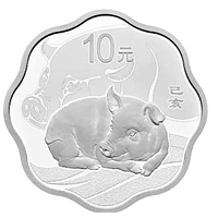 China 2019 10 Yuan Year of the Pig - Blossom-Shaped coin PP