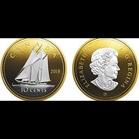 Kanada 2019 10 Cent Große Münzen - Bluenose PP