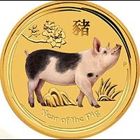 Australien 2019 5 Dollar Jahr des Schweins 1/20 oz in Kapsel - Perth Stgl.