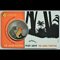 5 Euro 90 Jahre Tintin - Tim und Struppi - farbig 2019 Stgl. Belgien Coincard