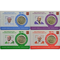 Vatikan 2019 50 Cent 4x 50 Cent + Briefmarken 1,10 1,15 2,40 3,0 Euro bfr