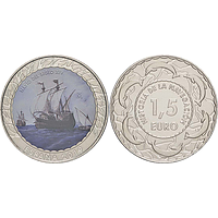 Spanien 2019 1,5 Euro Segelschiff 14. Jh. #9 bfr