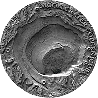 Niue 2019 1 Dollar Copernicus Moon Crater- Antique finish PP