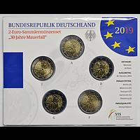 2 Euro Mauerfall Komplettsatz VfS 2019 bfr Deutschland