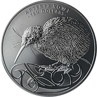 Neuseeland 2019 10 Dollar Black Nickel Kiwi 5oz PP