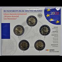 2 Euro Kniefall von Warschau Komplettsatz Euro 2020 Stgl. Deutschland
