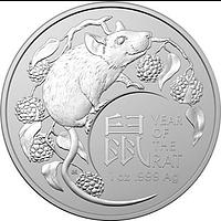 Australien 2020 1 Dollar RAM Jahr der Ratte - Bullion 1 oz Stgl.